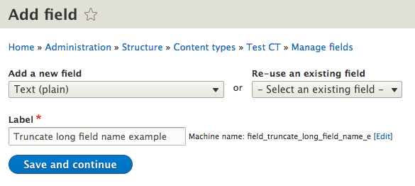 Example of field name truncating in the add field form