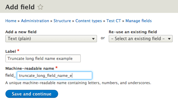 Another example of field name truncating in the add field form
