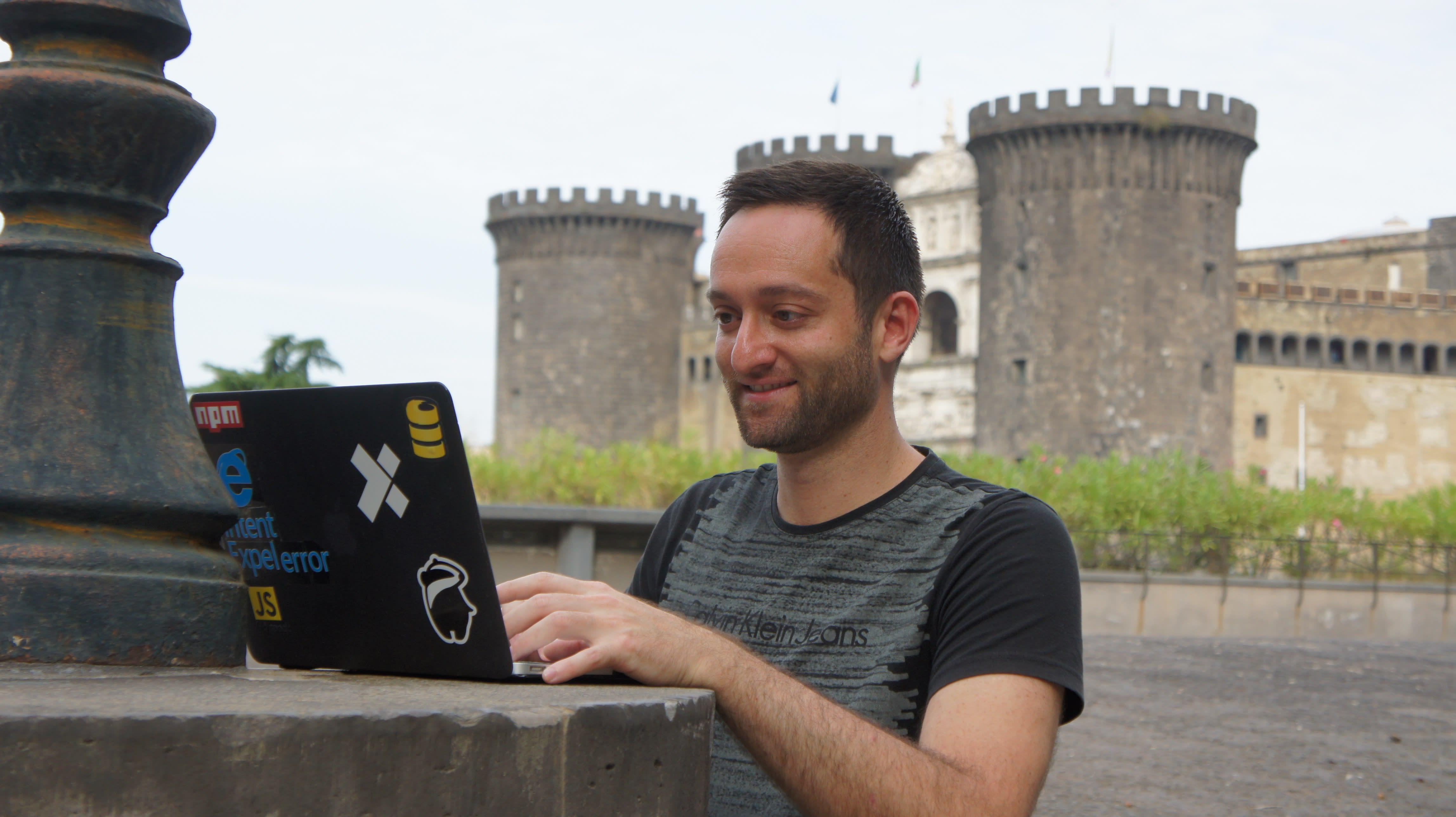 laptop near a castle