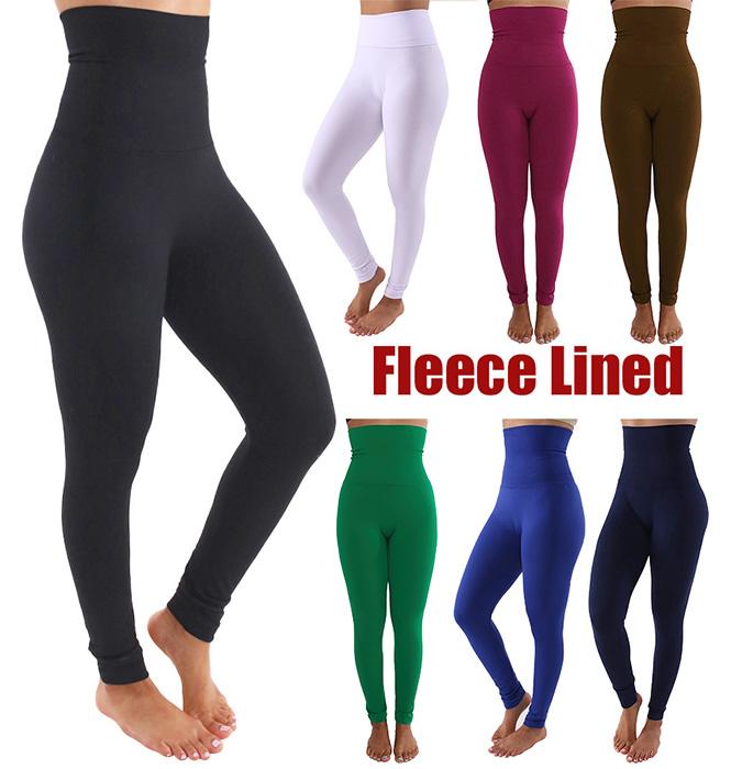 c9b6deb0e4dbc Womens Soft Fleece Lined Winter Warm High Waist Workout Leggings Tummy  Control