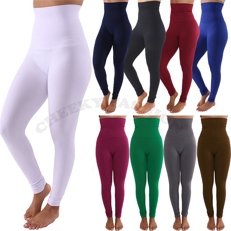 Women High Waist Tummy Shaping Slimming Ankle Leggings Warm Fleece Lined Pants