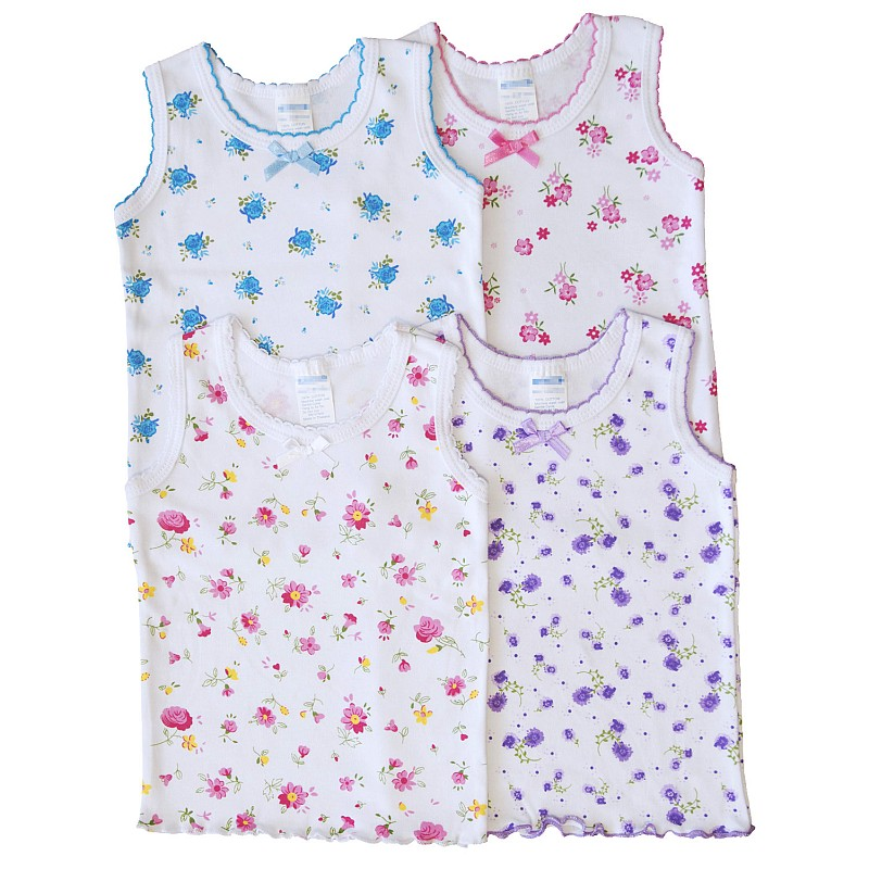 4-Pack Butterfly BOW DETAIL GIRLS UNDERSHIRT Camisole Thin Straps TANK Tops Lot