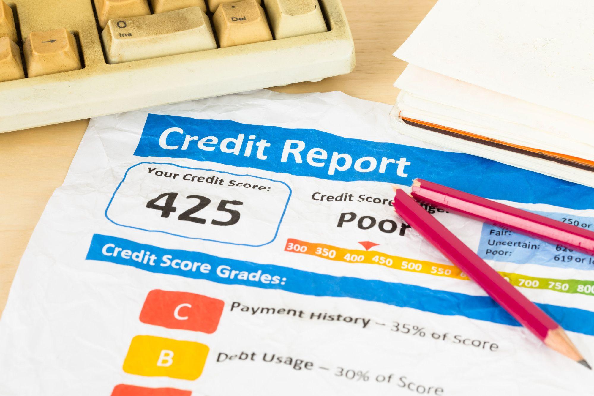 Poor credit score report