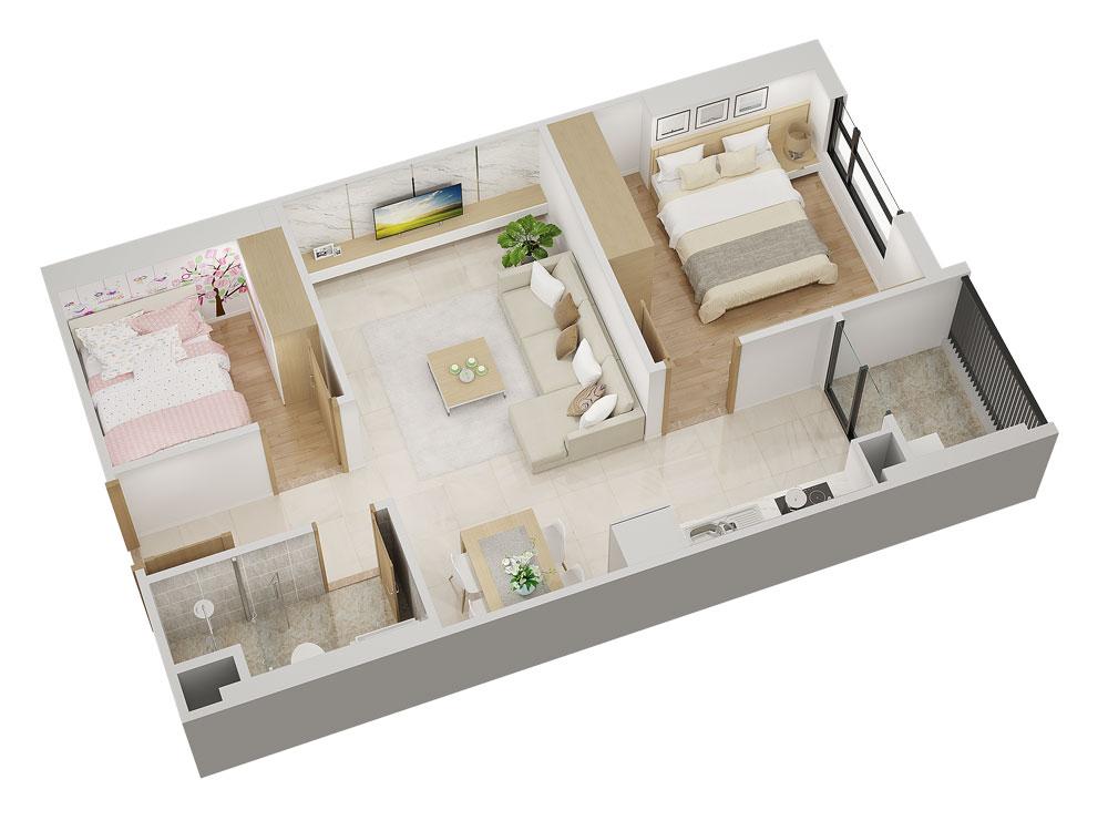 Thiết kế căn hộ 52m2