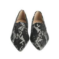 Pantofi ascutiti, imprimeu argintiu
