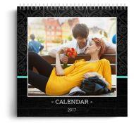 Calendar personalizat - Modern Black - Calendar de perete cu spirala metalica si agatatoare - Portret mediu (21x29 cm)