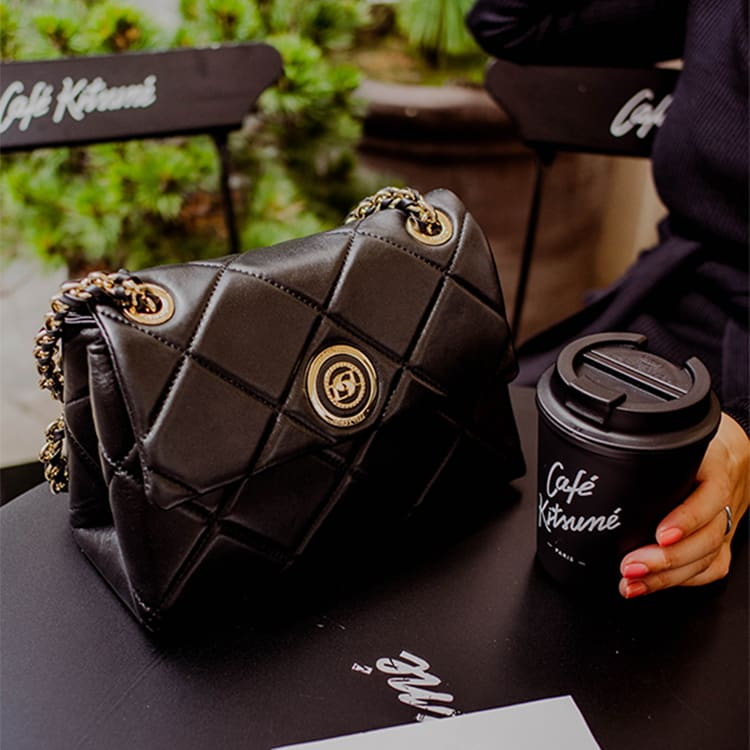 Close-up of the black leather Duchess bag