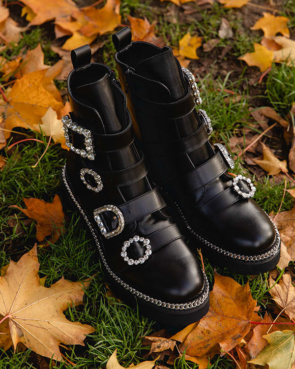 Black leather with jeweled buckles