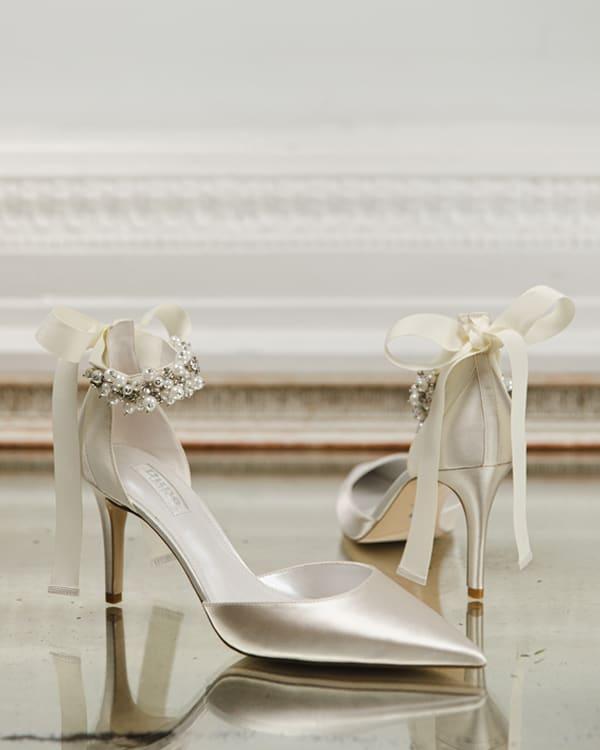 Satin embellished wedding heel