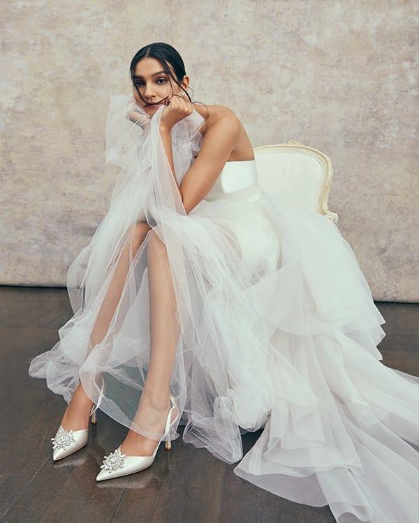 Emellished satin wedding shoe