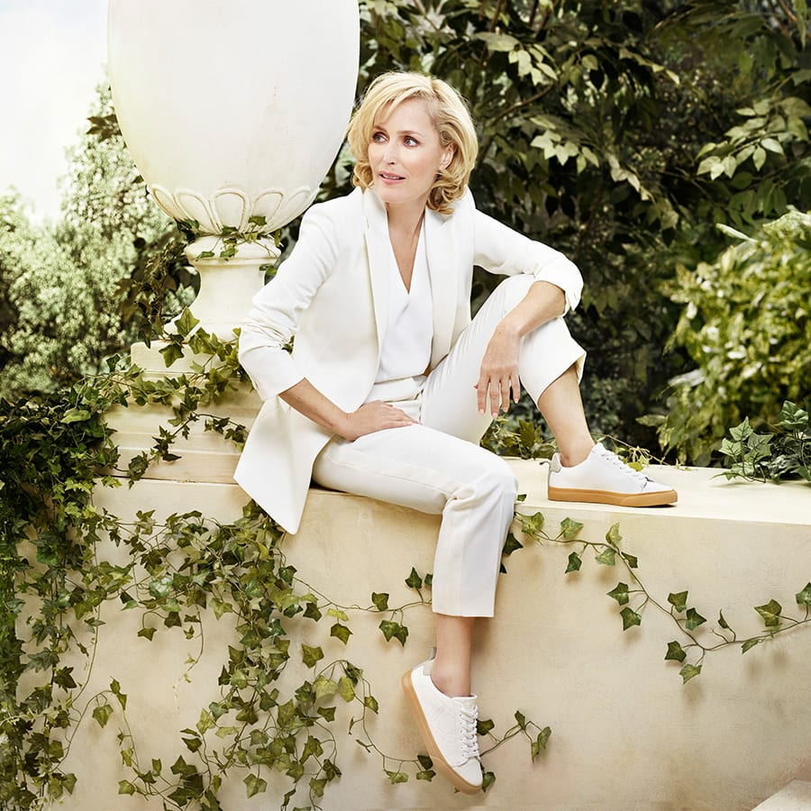 Gillian Anderson wears the Dune London ECO trainers