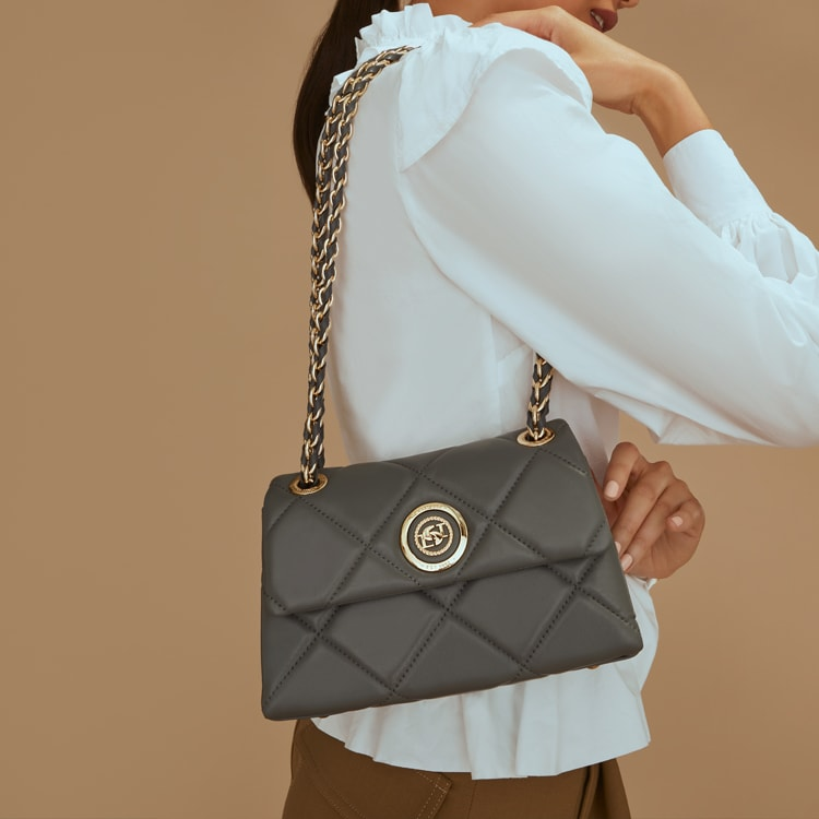 Close up of quilted black bag