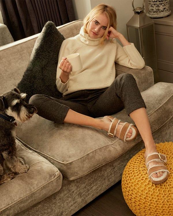 Faux fur double strap slippers