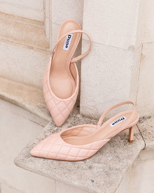 Quilted sling back court shoe