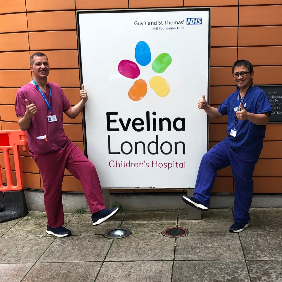 NHS staff of Evelina London Children's Hospital showing off their Dune London shoes.