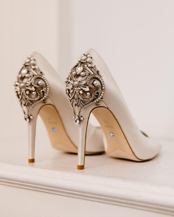 Jeweled wedding court shoes