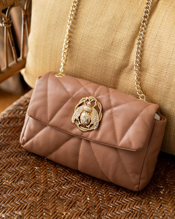 close up camel leather bag