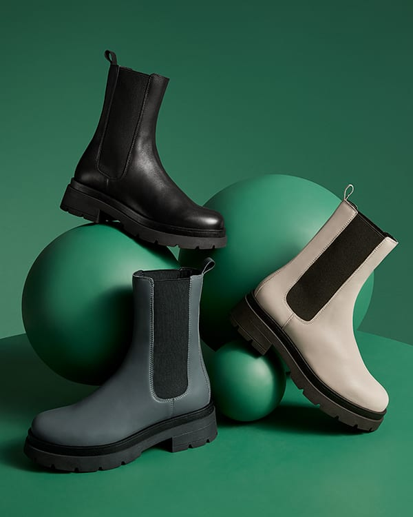 3 pairs of our Palmz boot in Black, Grey and Ecru