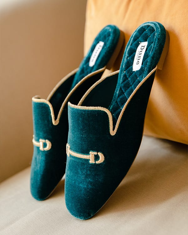 Slide-on slipper mules with snaffle detail