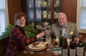 Virginia Hall and Doc Lawrence toast to a higher life.