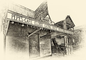 Pepe's Cafe on Key West as drawn by artist Bill Evans. It's the island's oldest restaurant and connects diners with early Florida cuisine.