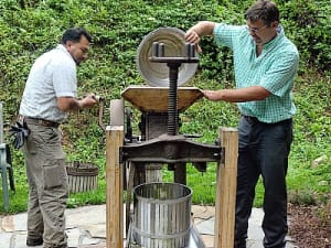 Pressing fresh apples at Walnut Cove's permaculture paradise