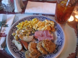 Lunch is a ritual at the legendary Blue Willow Inn located in Social Circle, Georgia, famous for its Southern cooking, particularly fried green tomatoes.