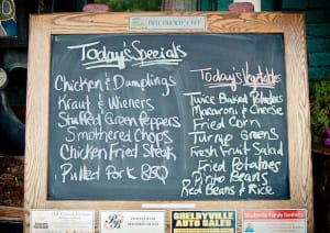Bell Buckle's menu changes daily