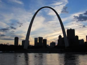 The world famous St. Louis Arch, gateway to the west. Completed in 1965, the Arch is 630 feet high. By law, no building in St. Louis can be built higher. You can ride the arch in an enclosed bubble car (four minutes up, three minutes down), but the line is long and the wait is discouraging.
