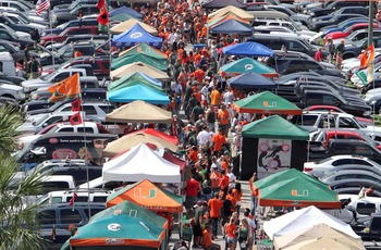 The lots on game day for Miami games are packed with tailgaters.