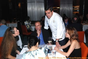 Chef Todd English with diners at Bluezoo