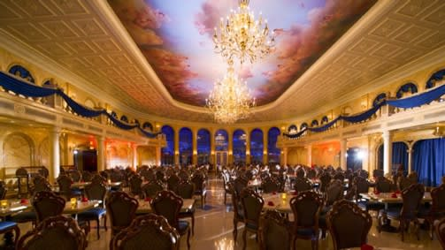 One of the three dining rooms at the Be Our Guest restaurant which has a Beauty and The Beast theme and serves really delicious meals. This is the Grand Ballroom. You'll need reservations for dinner because it's popular all year long.