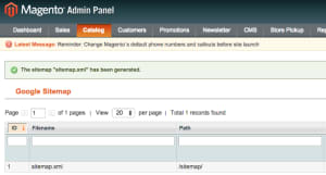 Magento Google Sitemap generated successfully