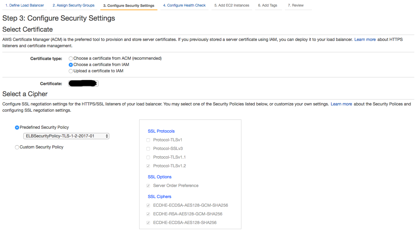 Setting up a classic aws ec2 load balancer for ssl termination step 3 certificate and cipher settings xflitez Choice Image