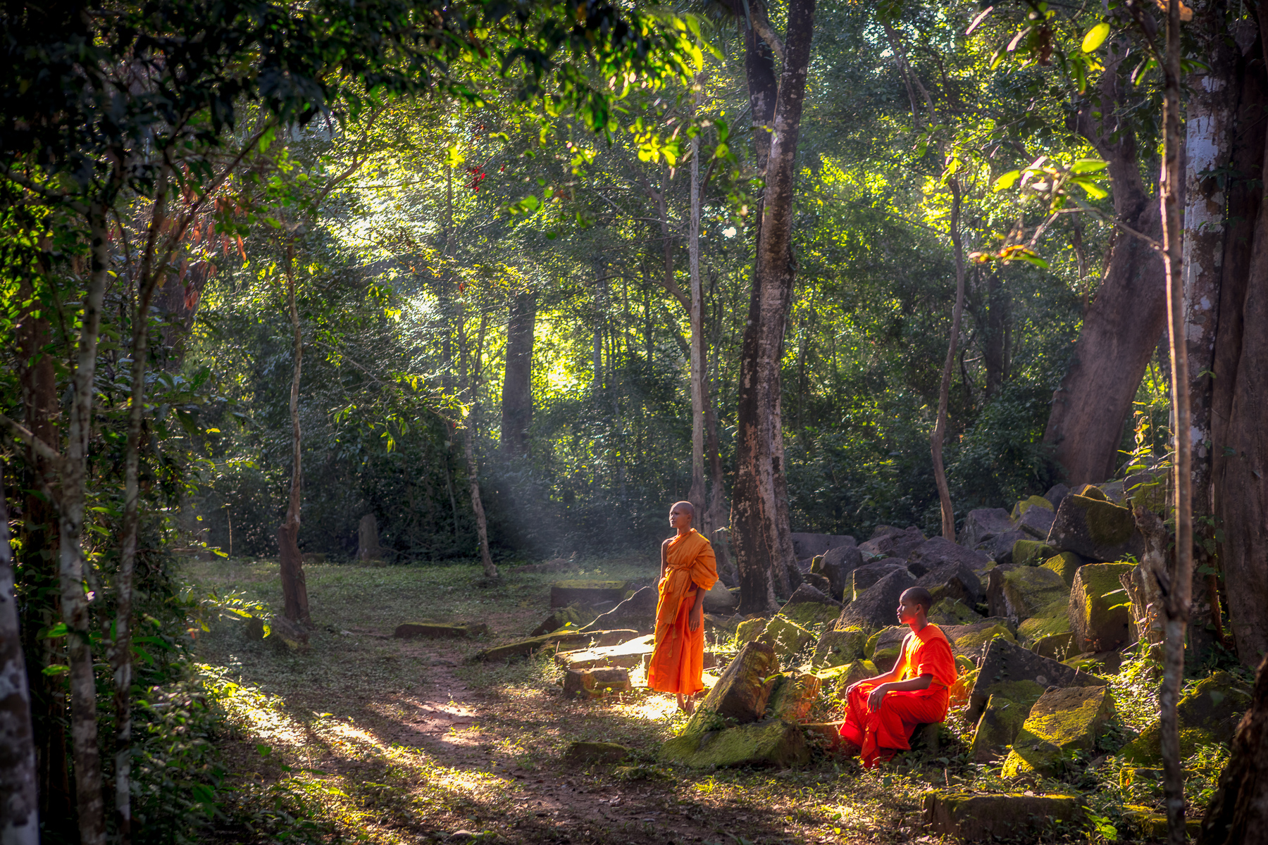 Monks amongst the temple ruins