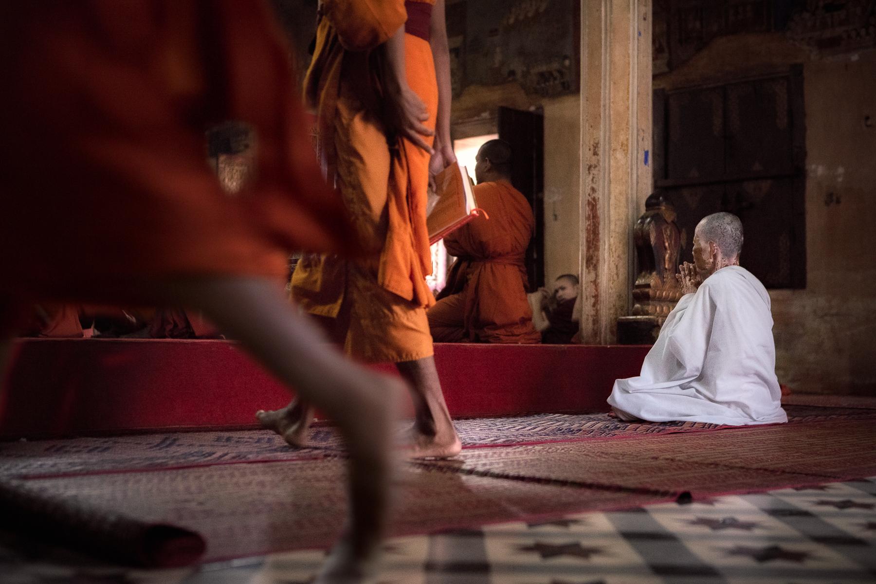 A Buddhist nun at prayer time