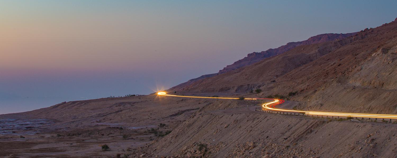 The Jordan Valley Highway after dark