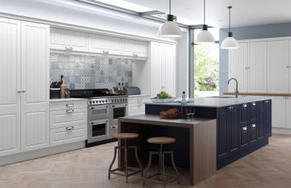 Premier Stockholm kitchen doors in Pure White and True Matt Marine Blue
