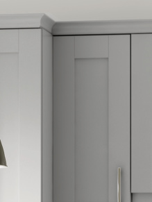 Close up of Shaker Cologne kitchen doors in Light Grey