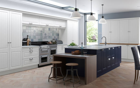 Pure White and True Matt Marine Blue kitchen picture