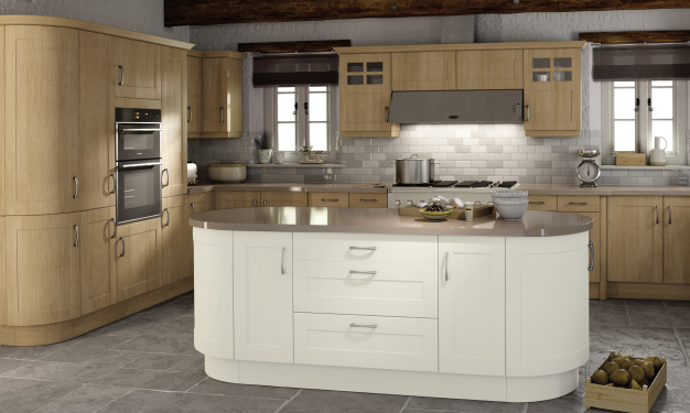 Pure White and Trojan Oak kitchen picture