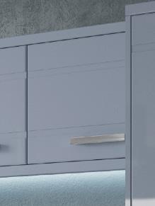 Close up of Premier Modena kitchen doors in High Gloss Denim