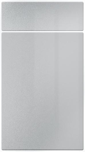 High Gloss Silver kitchen door finish