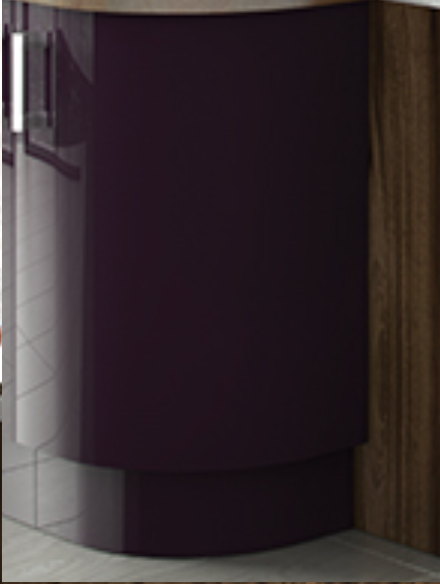 Close up of Premier Duleek kitchen doors in High Gloss Aubergine