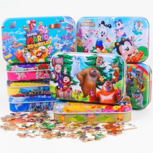 60 morceaux / ensemble En Bois Puzzle de Bande Dessinée Puzzle pour Enfants Early Éducatifs Montessori Jouets