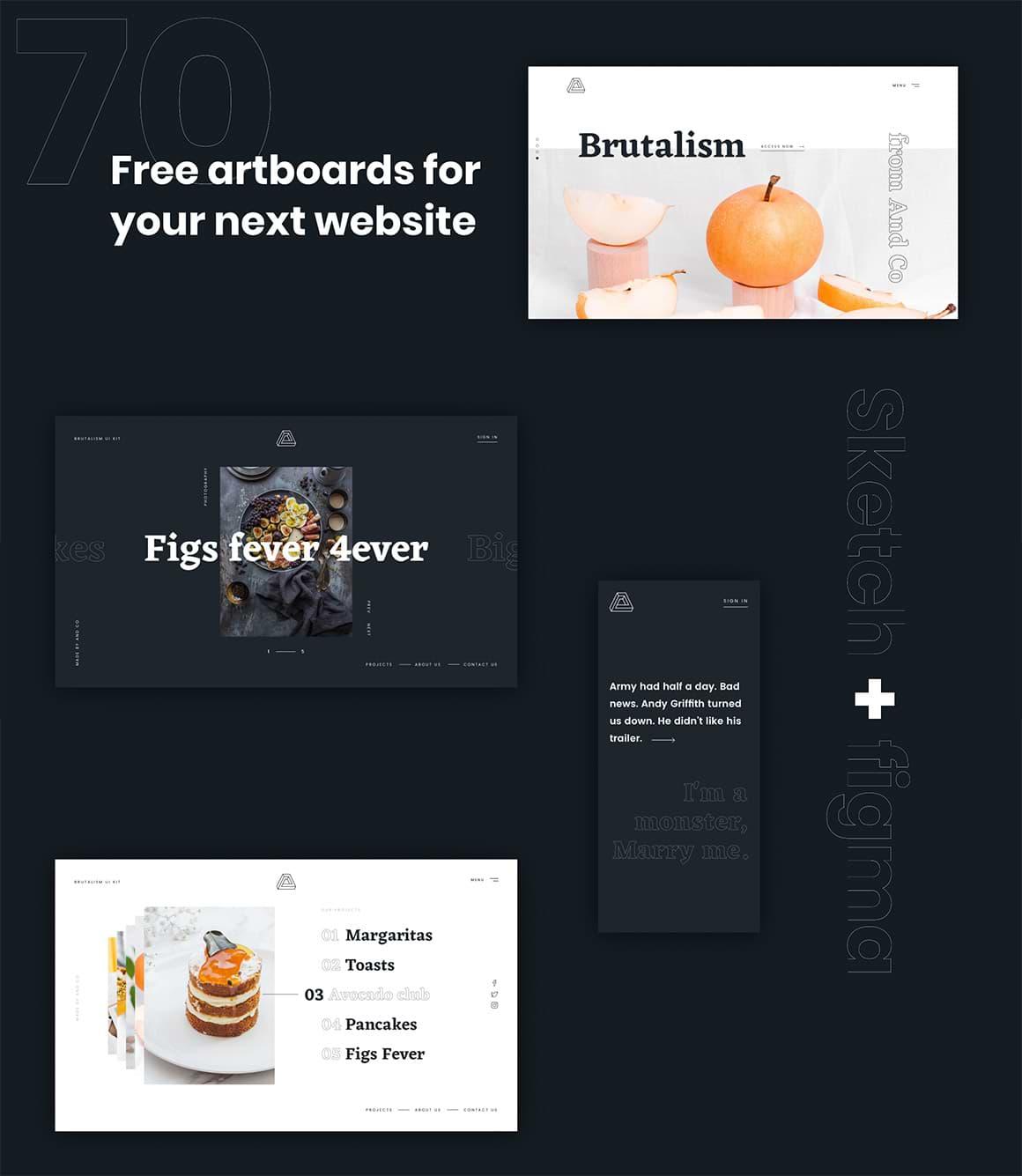 Brutalisme: un kit Web gratuit pour Sketch et Figma