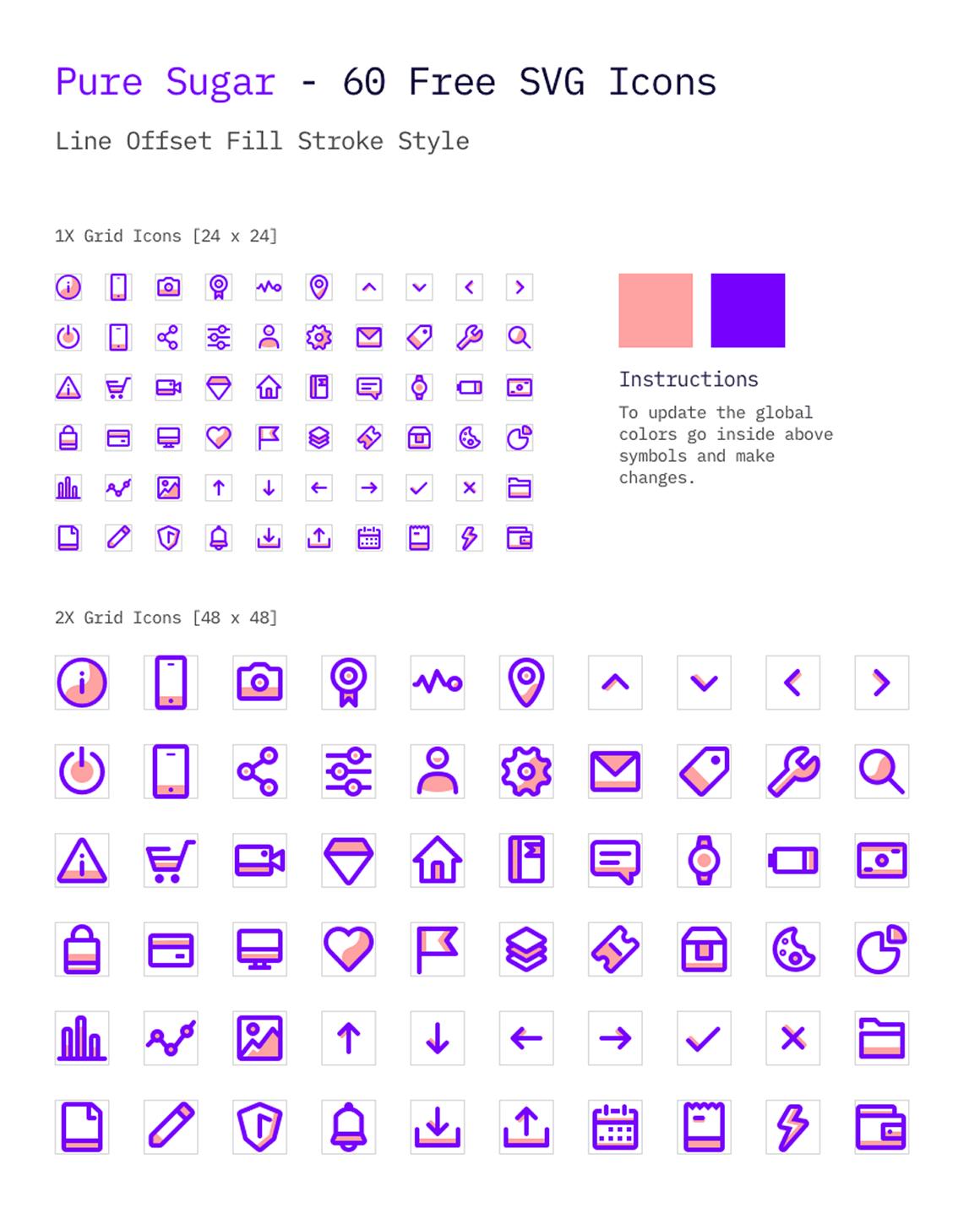 Pure Sugar: Un ensemble gratuit de 60 icônes SVG