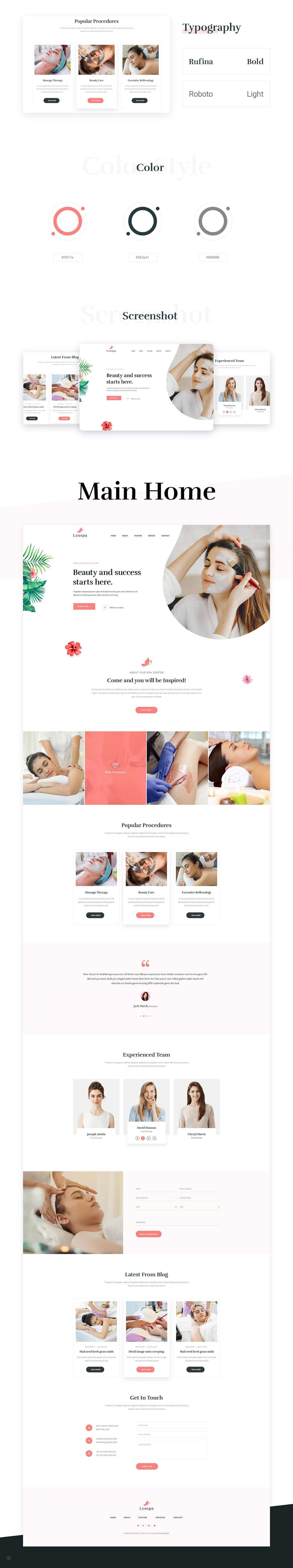 Leospa: modèle PSD et HTML gratuit pour Spa et beauté