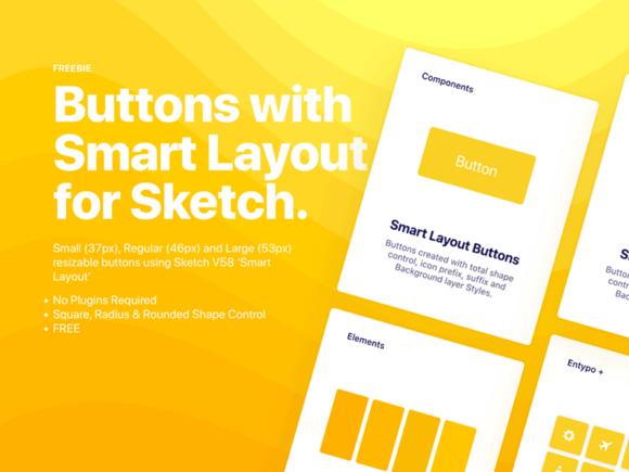 Boutons prêts pour la mise en page intelligente pour l'application Sketch