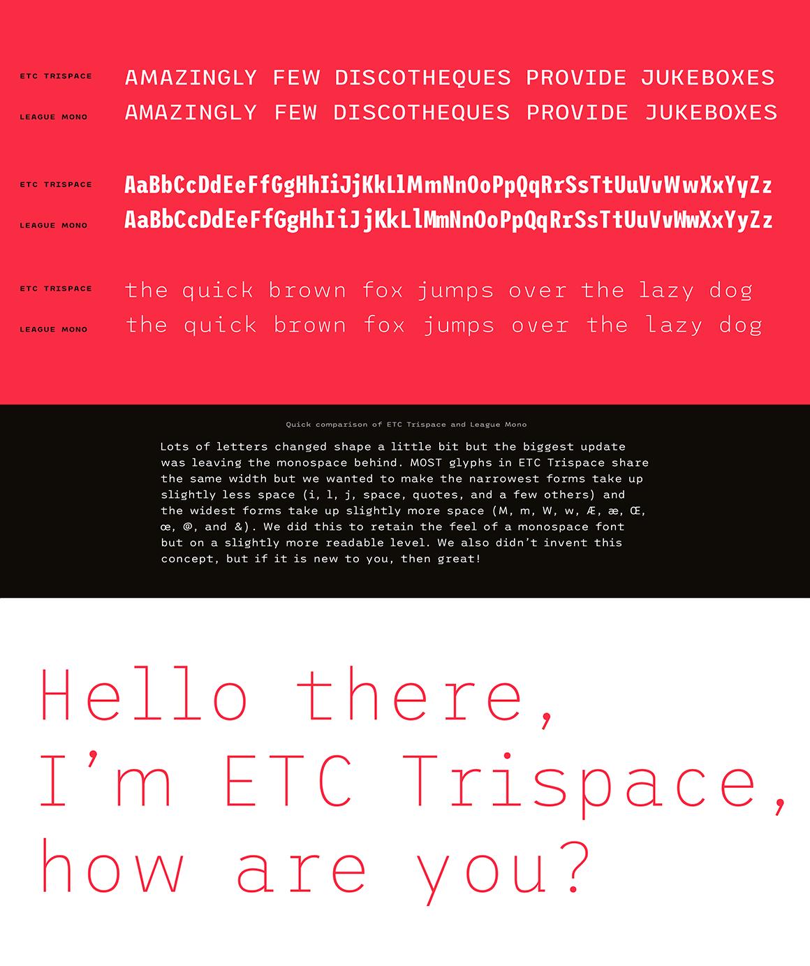 ETC Trispace: police de caractères gratuite dans 45 styles